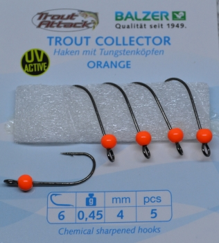 Balzer Trout Attack Trout Collector Tungstenhaken mit Widerhaken Gr.6/ 0,45g/ orange