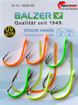 Farbige UV aktive Spoon Haken Balzer Trout Attack Area UL ultralight/ Größe 6
