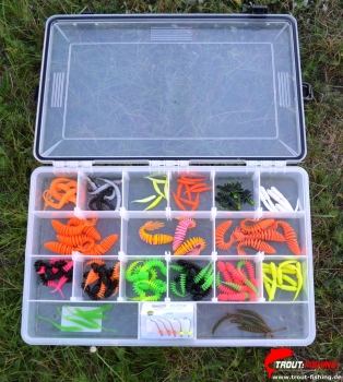 XXL 2 ultralight Gummiköder Mix-Box Garlic/ MF-Pro Rib Swim/ Trout Bait Chub/ FTM Omura Snake
