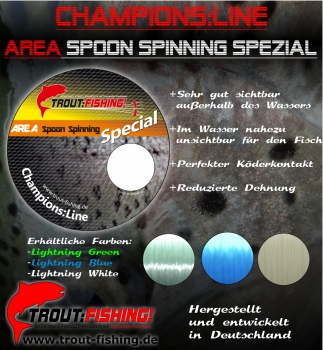 Champions:Line AREA Spoon Spinning Spezial 0,18mm/ 100m/ Lightning Green