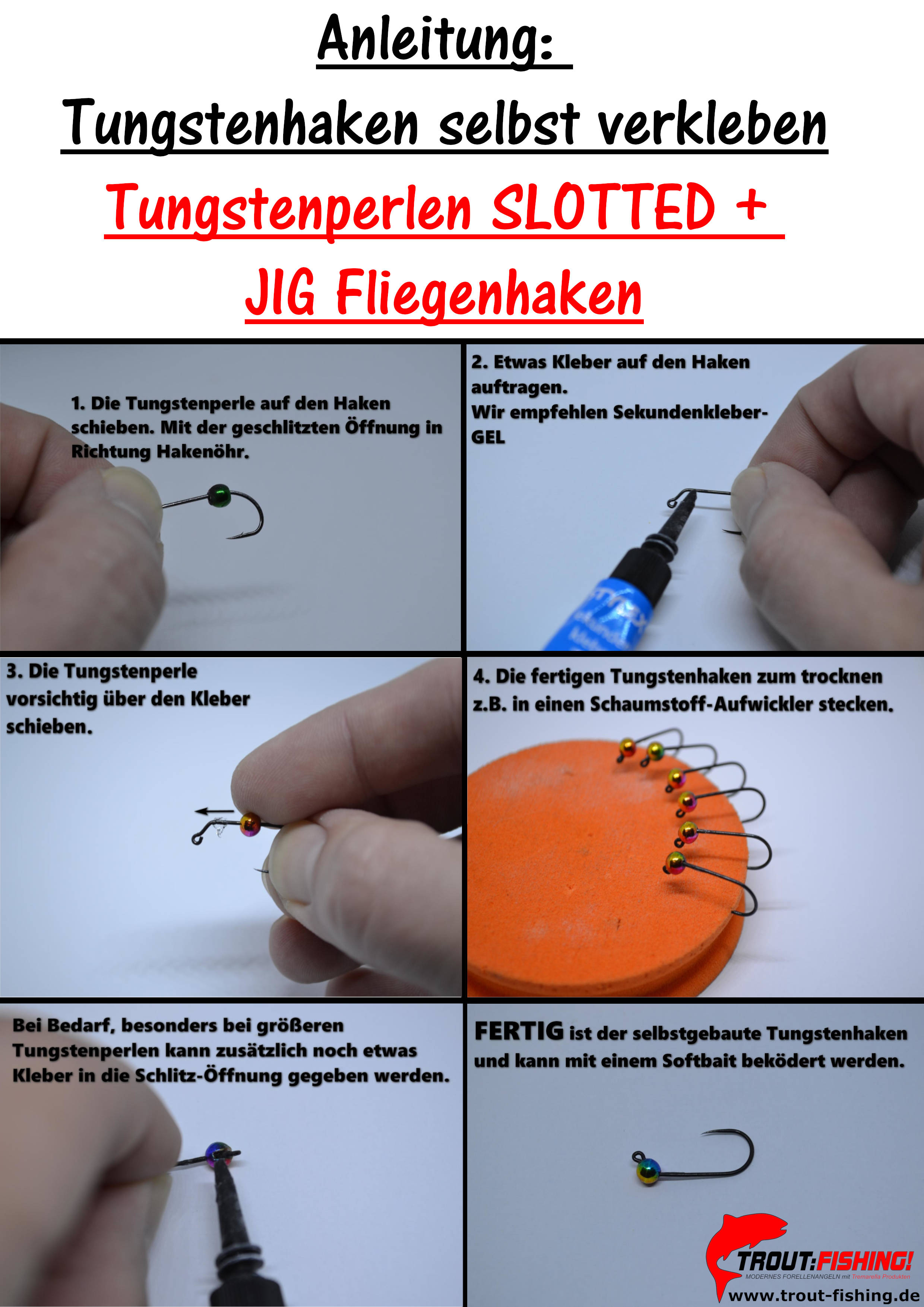 anleitung tungstenhaken slotted kleben area ultralight gummiköder spoon copyright daniels angelshop trout fishing d